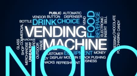 máquina : Vending machine animated word cloud, text design animation.