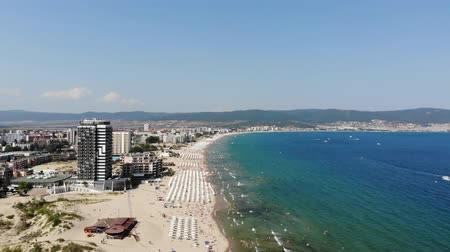 bułgaria : 4K Aerial footage of the beautiful coastline of Bulgaria at the area of Sunny Beach, taken with a drone.