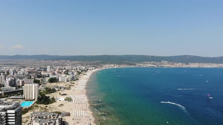 bolgár : 4K Aerial footage of the beautiful coastline of Bulgaria at the area of Sunny Beach, taken with a drone.