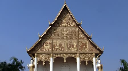 vientiane : Zoom out  on the temple of   Pha That Luang temple in Vientiane Laos