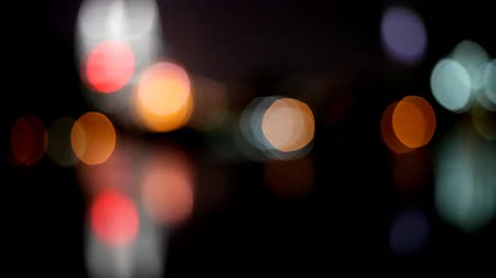 blinking light : City lights defocused with traffic  Stock Footage