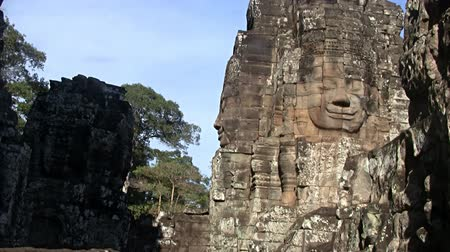 oyma : Zoom in on Bayon temple statue  in Angkor Cambodia