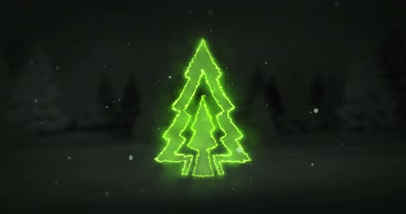 hale : Christmas tree glowing line revelation from dark background  line, winter holiday   animation template with black end
