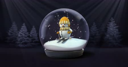 snow globe : happy snowman with ski snowball snowfall in dark night forest animation, winter seasonal christmas scene footage background with black end