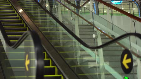 escalera : Moving Escalator Up, Mecanic, Electric, Stair and Escalators in a Public Area. 4K