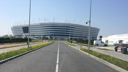 como : KALININGRAD, RUSSIA. A view of Baltic Arena stadium for holding games of the FIFA World Cup of 2018 in sunny day