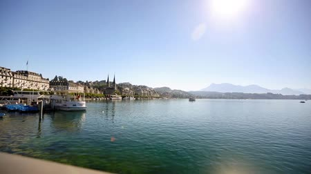 wooden bridge : lucerne switzerland cityscape alps bridge Stock Footage