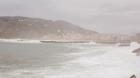 san sebastian beach ocean spain big wave