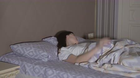 bad dream : Young woman having a nightmare. Restless dreams.