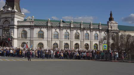 propelled : Kazan, Russia, May 9: the procession of the Immortal Regiment Stock Footage
