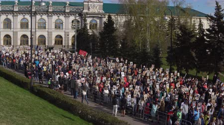 prospect : Kazan, Russia, May 9: the procession of the Immortal Regiment Stock Footage