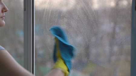 utírat : Beautiful brunette woman in gloves washes windows. Dostupné videozáznamy