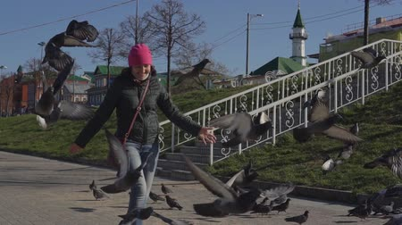 flee : Young woman chasing pigeons on a sunny day, slow motion