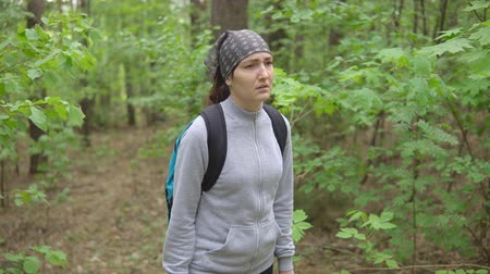 endure : brunette woman get lost in the woods. Stock Footage