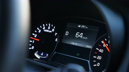 kilometer : close up of speedometer in modern car, slow motion Stock Footage