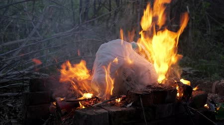 discard : flame fire and smoke burning garbage waste of plastic to air pollution. Stock Footage