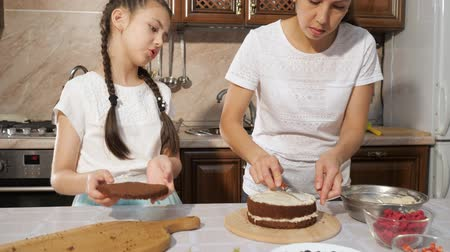 baked pudding : Mother with daughter smears white custard on chocolate sponge cake using knife. Cooking homemade cake in the kitchen at home. Stock Footage