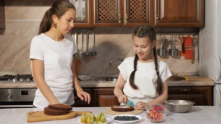 em camadas : Mother with daughter smears white custard on chocolate sponge cake using knife. Cooking homemade cake in the kitchen at home. Stock Footage