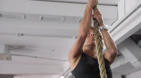 tornász : Athletic woman is climbing up on hanging rope in gym. Strength workout. She is doing rope exercise in sportswear, black top and violet leggings.