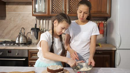 turn table : Mother with her teen daughter is cooking handmade chocolate cake with cream together. Stock Footage