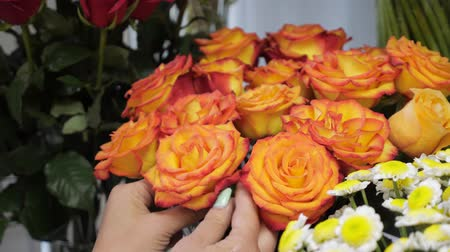 self storage : Professional floristry studio and shop. Woman florist takes care of flowers tearing dried rose petals, hands closeup. Beautiful flowers different colours and sort.