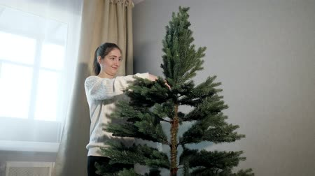 monteren : happy young woman in sweater straightens artificial green christmas tree branches in white spacious room close view Stockvideo