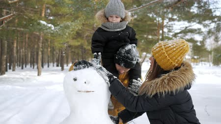 monte de neve : Happy family, mom, son and dad are making a snowman in winter park. Son is sitting on dads neck Stock Footage