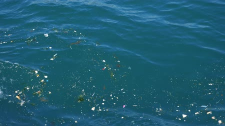 poluir : human waste rubbish and trash float in blue sea polluting environment and leading to disaster view from boat side closeup Stock Footage