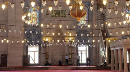 oriente : ISTANBULTURKEY - JULY 30 2019: Muslim men pray near wall in beautiful mosque decorated with traditional lanterns in Istanbul city backside view on July 30 in Istanbul Filmati Stock