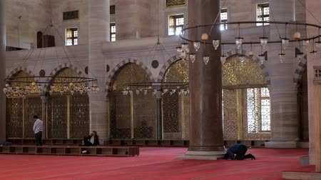 ISTANBULTURKEY - JULY 30 2019: Muslim men pray near wall in beautiful mosque in Istanbul city backside view