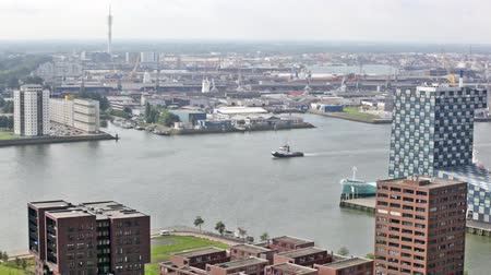 bird eye : View of port in Rotterdam, the biggest port in Europe