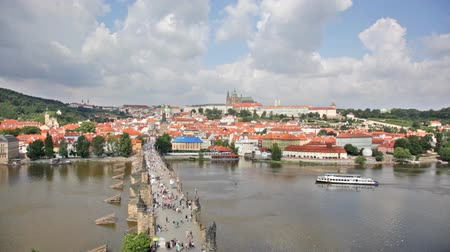 old times : Tourists on Charles Bridge,  Prague,Czech Republic
