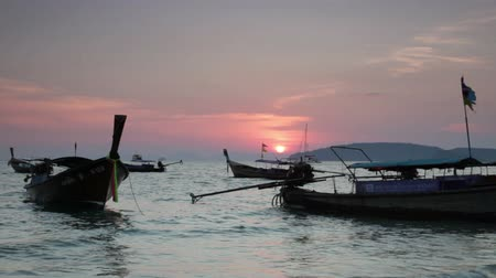 taylandlı : Traditional Thai boats on a sunset, Thailand Stok Video