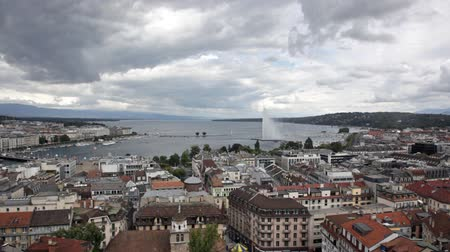 eau : fountain Jet d'Eau rises over the waterfront of Lake Geneva, Geneva, Switzerland