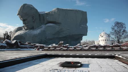 bravery : Monument Courage and an eternal flame in the Brest fortress in winter day, Belarus Stock Footage