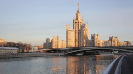 stalinist : high-rise building on Kotelnicheskaya Embankment in winter twilight, Moscow Stock Footage