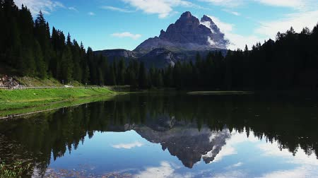 A look at the Antorno lake in National Park Tre Cime di Lavaredo. Location Auronzo, Misurina, Dolomiti alps, South Tyrol, Italy, Europe. Explore the worlds beauty. Shooting in HD 1080 video.