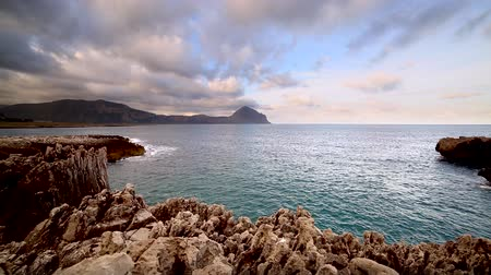 Great view of the nature reserve Monte Cofano. Location place cape San Vito, Sicilia island, Italy, Europe. Mediterranean and Tyrrhenian sea. Dramatic and unusual scene. Discover the world of beauty.