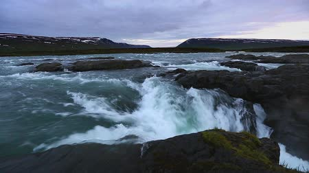 The rapid flow of water powerful Godafoss cascade. Popular tourist attraction. Unusual and gorgeous scene. Location place Bardardalur valley, Skjalfandafljot river, Iceland, Europe. Beauty world. Stock Footage