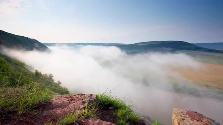 Vivid view of the sinuous river flowing through mountains. Picturesque and gorgeous morning scene. Location place Dnister canyon, Ukraine, Europe. Instagram filtered. Discover the world of beauty. Stock Footage