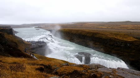gullfoss : Gullfoss biggest waterfall in iceland. powerful waterfall Stock Footage
