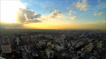 evening sun : Sunset over Bangkok city [HD] Stock Footage