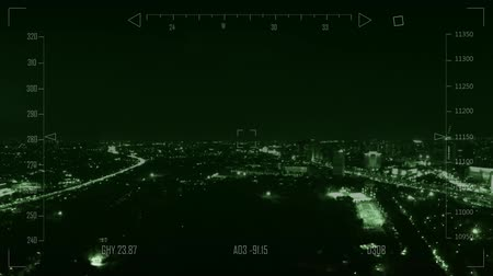 drone : Drone flying over city at night
