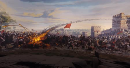 kuşatma : ISTANBUL, TURKEY - JUNE 6, 2016: Fall of Constantinople in 1453. Captured by Mehmet. Diorama in Askeri Museum, Istanbul, Turke