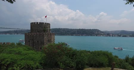 Ancient Rumeli Fortress in Istanbul, on the shores of the Bosphorus Strait Stock Footage