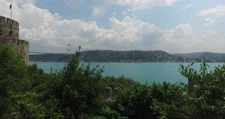 Ancient Rumeli Fortress in Istanbul, on the shores of the Bosphorus Strait Стоковые видеозаписи