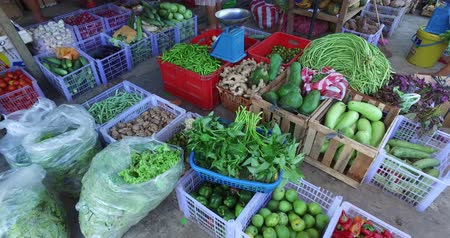 El NIDO, PHILIPPINES - FEB. 4: Village Asian market for the sale of fruit and vegetables El Nido FEB. 4, 2016 in El Nido Philippines. Stock Footage