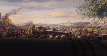 bástya : ISTANBUL, TURKEY - JUNE 6, 2016: Fall of Constantinople in 1453. Captured by Mehmet. 1453 Panorama Museum, Istanbul, Turke Stock mozgókép