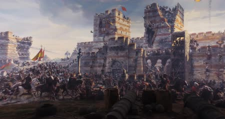 kuşatma : ISTANBUL, TURKEY - JUNE 6, 2016: Fall of Constantinople in 1453. Captured by Mehmet. 1453 Panorama Museum, Istanbul, Turke Stok Video
