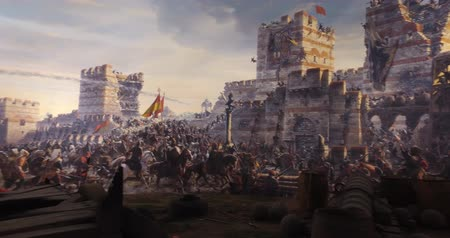 byzantský : ISTANBUL, TURKEY - JUNE 6, 2016: Fall of Constantinople in 1453. Captured by Mehmet. 1453 Panorama Museum, Istanbul, Turke Dostupné videozáznamy